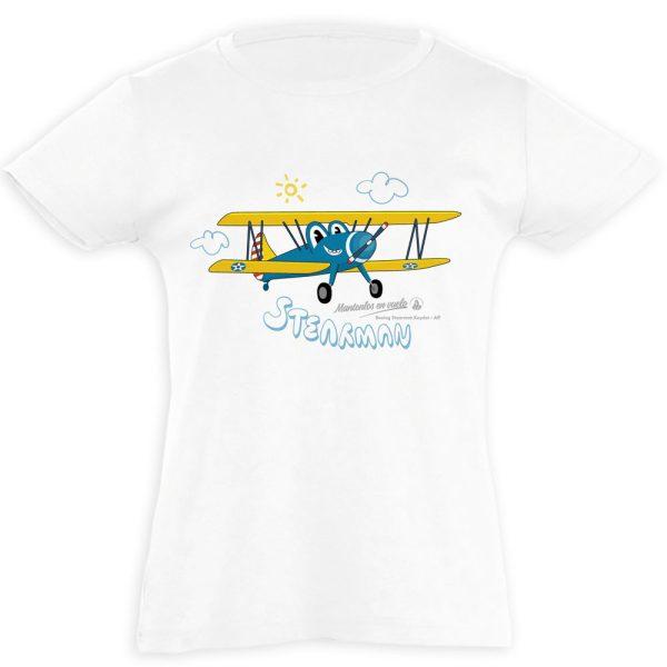 camiseta infantil avión stearman blanca